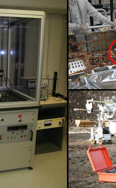 A conventional X-ray diffraction instrument (left) is the size of a large refrigerator, in contrast to the compact size of the Chemistry and Mineralogy (CheMin) instrument on NASA's Curiosity rover (top right) and the spin-off commercial portable instrument (lower right, orange case).