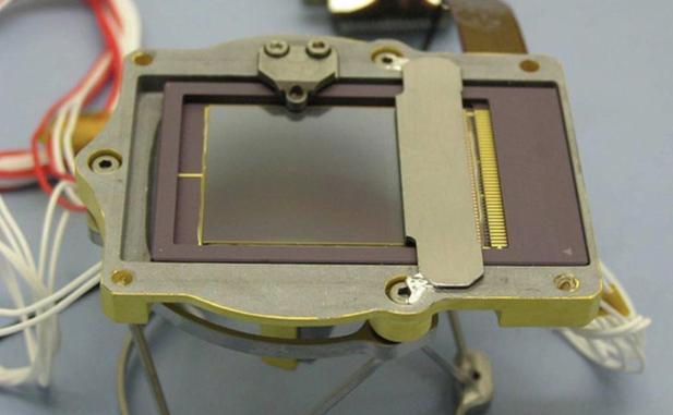 This charged couple device (CCD) is part of the Chemistry and Mineralogy (CheMin) instrument on NASA's Curiosity rover.