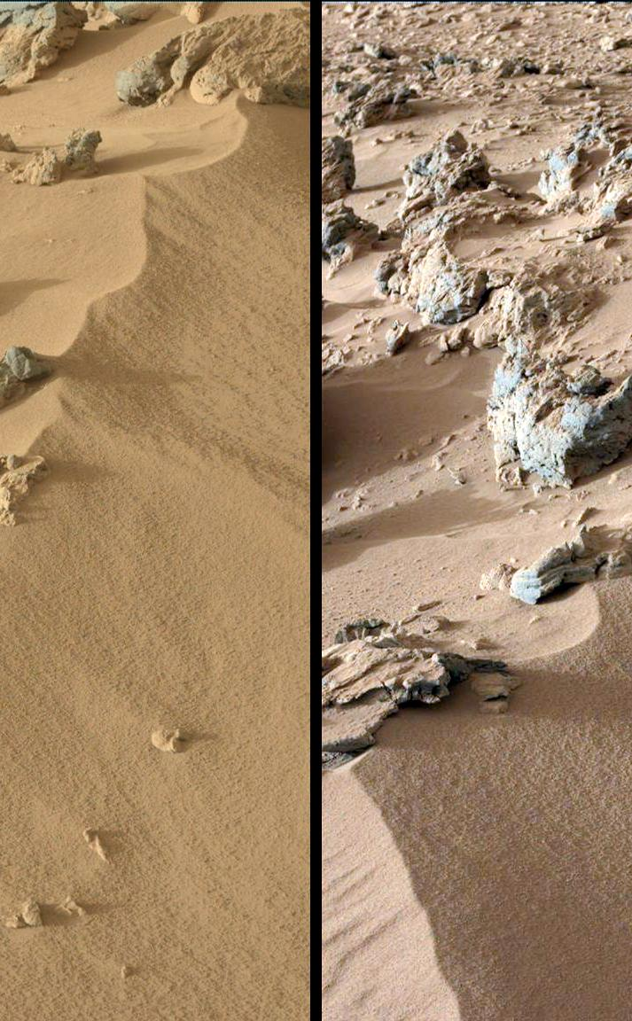 "This pair of images from the Mast Camera on NASA's Curiosity rover shows the upper portion of a wind-blown deposit dubbed ""Rocknest."""