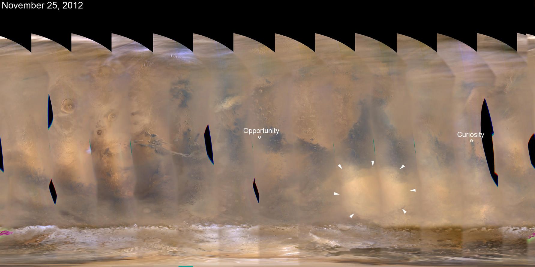 A regional dust storm visible in the southern hemisphere of Mars in this nearly global mosaic of observations made by the Mars Color Imager on NASA's Mars Reconnaissance Orbiter on Nov. 25, 2012.