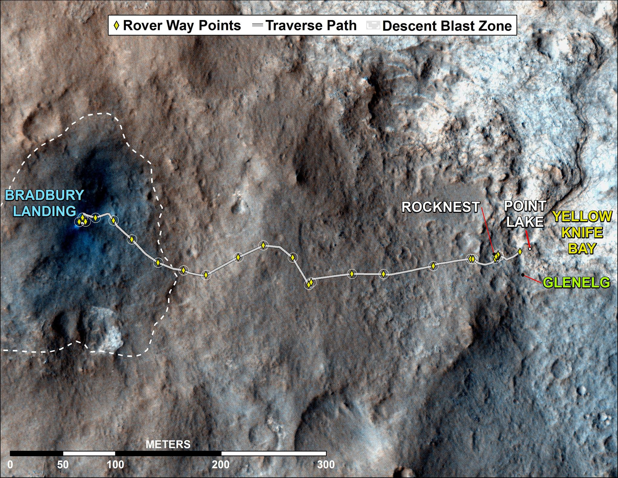 "This map shows where NASA's Mars rover Curiosity has driven since landing at a site subsequently named ""Bradbury Landing,"" and traveling to an overlook position near beside ""Point Lake,"" in drives totaling 1,703 feet (519 meters)."