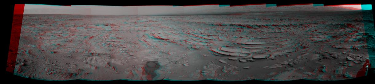This stereo panoramic view combines 14 images taken by the Navigation Camera (Navcam) on the NASA Mars rover Curiosity during the mission's 120th Martian day, or sol (Dec. 7, 2012).