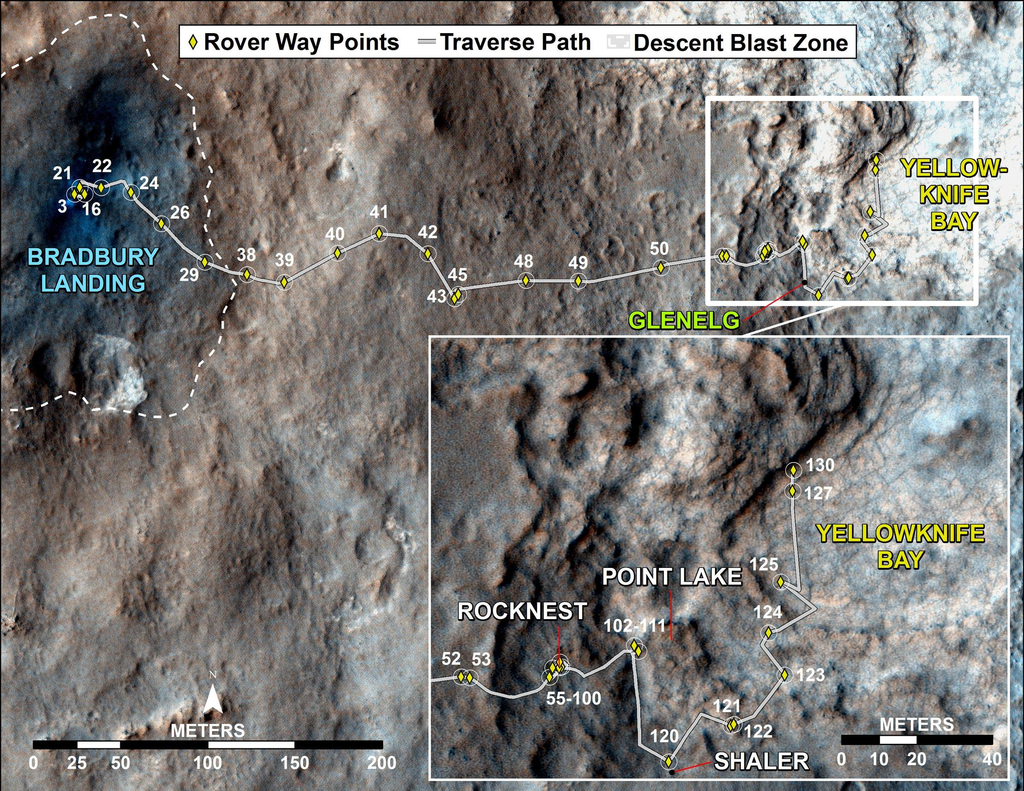 "This map traces where NASA's Mars rover Curiosity drove between landing at a site subsequently named ""Bradbury Landing,"" and the position reached during the mission's 130th Martian day, or sol, (Dec. 17, 2012)."