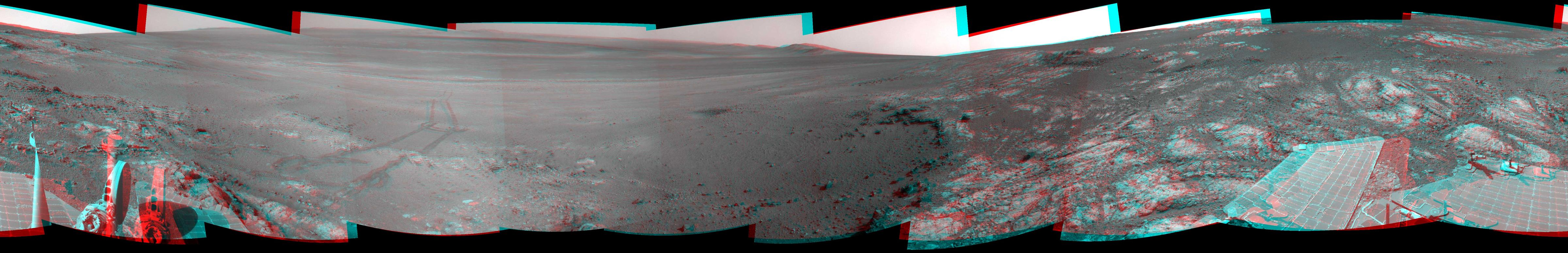 This full-circle, stereo panorama shows the terrain around the NASA Mars Exploration Rover Opportunity during the 3,071st Martian day, or sol, of the rover's work on Mars (Sept. 13, 2012).