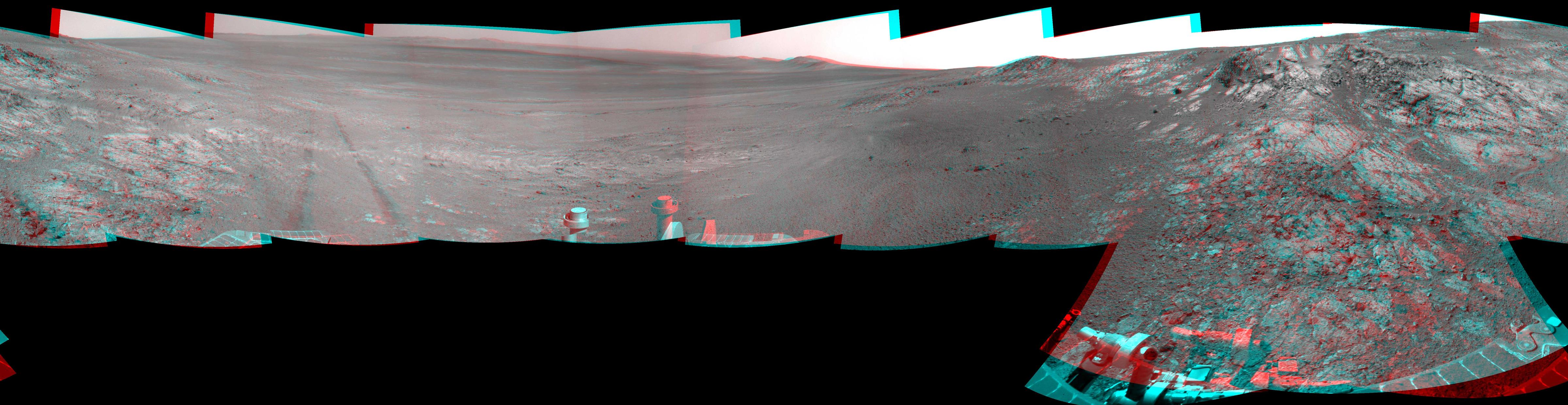This full-circle, stereo panorama shows the terrain around the NASA Mars Exploration Rover Opportunity during the 3,105th Martian day, or sol, of the rover's work on Mars (Oct. 18, 2012).