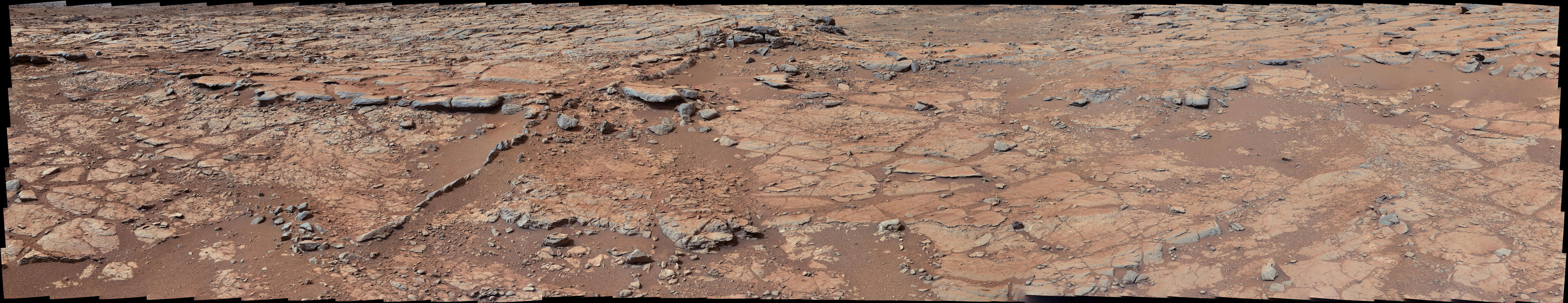 "From a position in the shallow ""Yellowknife Bay"" depression, NASA's Mars rover Curiosity used its right Mast Camera (Mastcam) to take the telephoto images combined into this panorama of geological diversity."