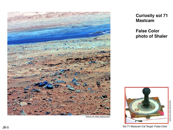 This image of terrain inside Mars' Gale Crater and the inset of the calibration target for the Mast Camera (Mastcam) on NASA's Mars rover Curiosity illustrate how false color can be used to make differences more evident in the materials in the scene.