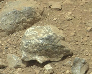 The Mast Camera (Mastcam) on NASA's Mars rover Curiosity showed researchers interesting color and patterns in this unnamed rock imaged during the 27th Martian day, or sol, of the rover's work on Mars (Sept. 2, 2012).