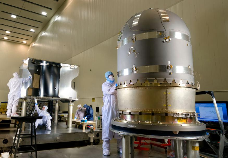 This photo taken on March 3 shows the large hydrazine propellant tank prior to integration with the core structure of the MAVEN spacecraft at a Lockheed Martin clean room near Denver.