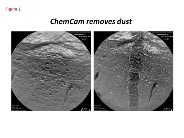 This pair of images taken a few minutes apart show how laser firing by NASA's Mars rover Curiosity removes dust from the surface of a rock.