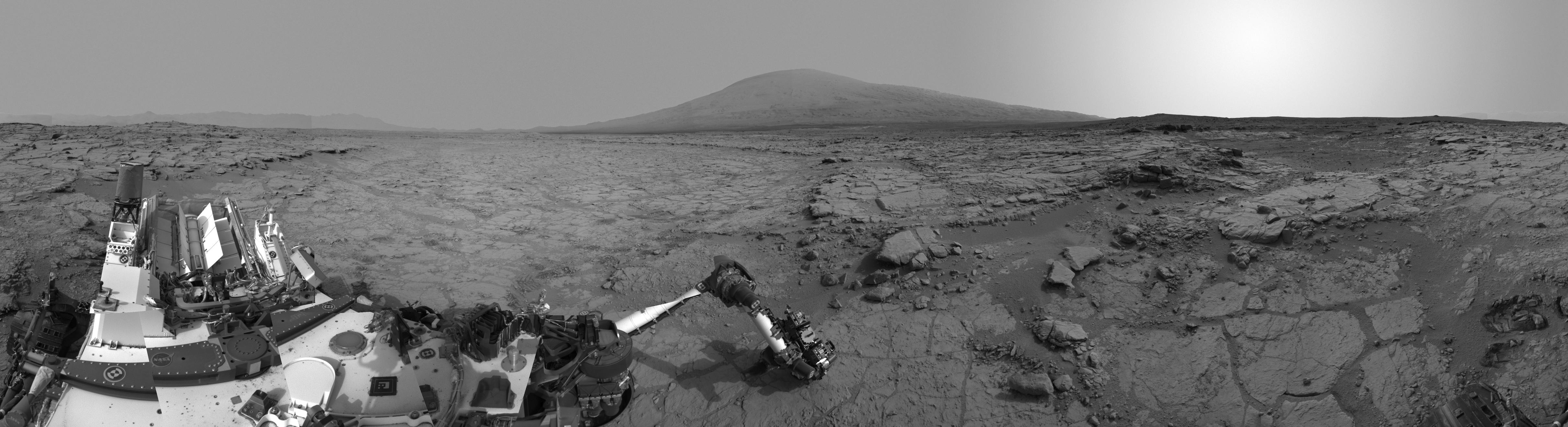 This right-eye member of a stereo pair of images from the Navigation Camera (Navcam) on NASA's Curiosity Mars rover shows a full 360-degree view of the rover's surroundings at the site where it first drilled into a rock.
