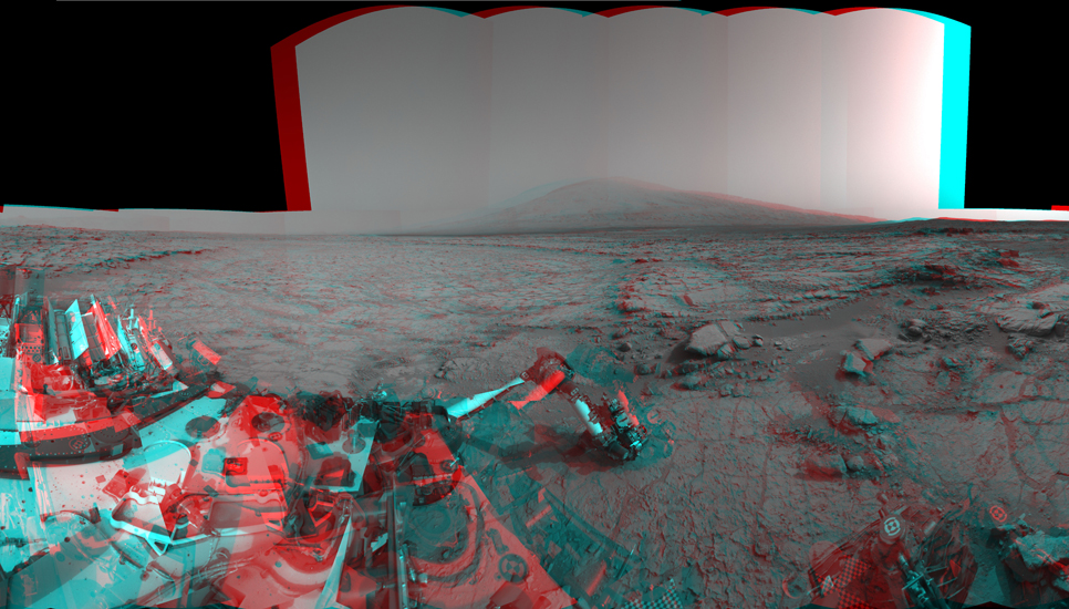 Left and right eyes of the Navigation Camera (Navcam) in NASA's Curiosity Mars rover took the dozens of images combined into this stereo scene of the rover and its surroundings.