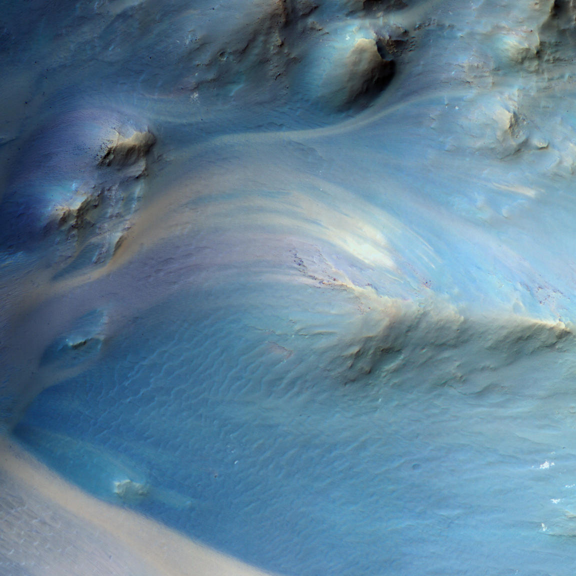 This is an image of a central pit of an impact crater in the Martian ancient highlands.