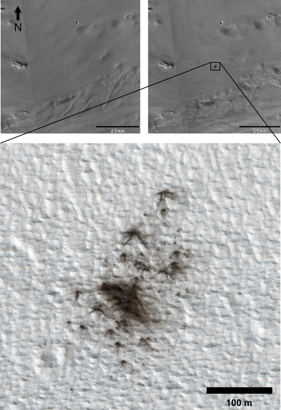 This set of images from cameras on NASA's Mars Reconnaissance Orbiter documents the appearance of a new cluster of impact craters on Mars.
