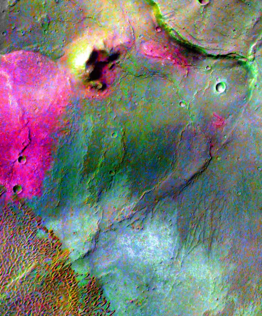 Part of a multispectral THEMIS infrared image of Nili Patera caldera on Syrtis Major has been superimposed on a high-resolution THEMIS visual image.