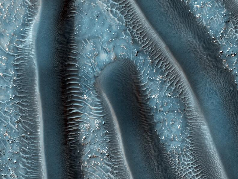 Sand dunes are among the most widespread aeolian features present on Mars.