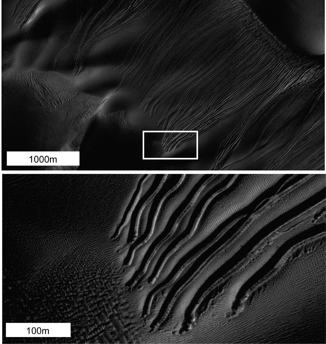 Several types of downhill flow features have been observed on Mars.
