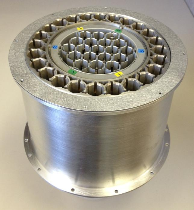 A device similar to this one would potentially be placed on the Mars 2020 rover to cache collected rock core samples for a future potential return to Earth.