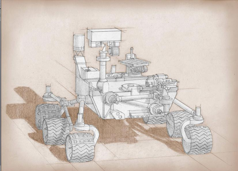 This artist's sketch is based on the Curiosity rover in NASA's Mars Science Laboratory mission, with proposed modifications based on the science definition team's recommendations.
