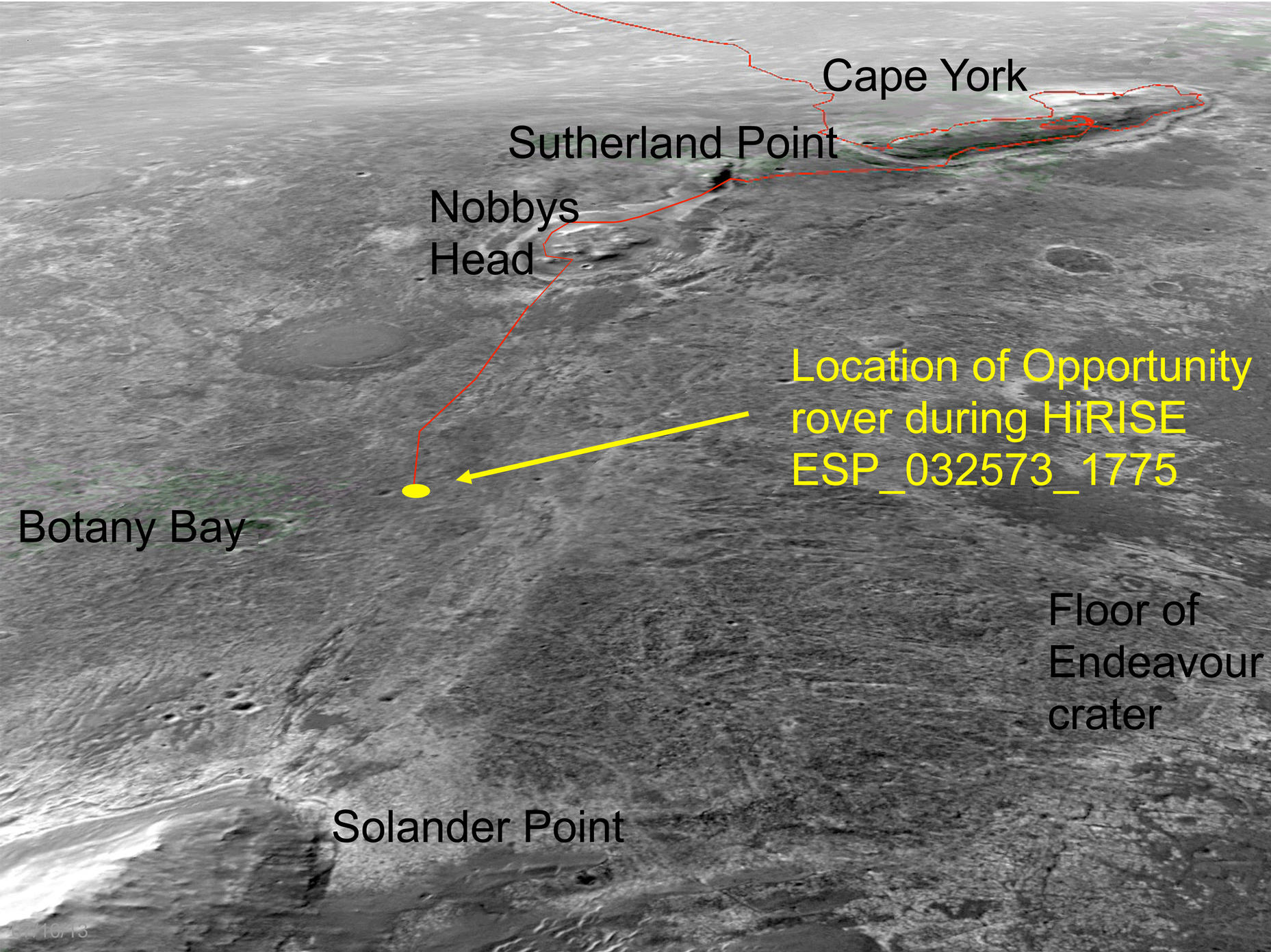 An oblique, northward-looking view based on stereo orbital imaging, shows the location of Opportunity on its journey from Cape York to Solander Point when HiRISE took the new color image.