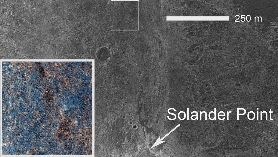 This image shows the location of the rover-containing section of new color image in relation to Solander Point.