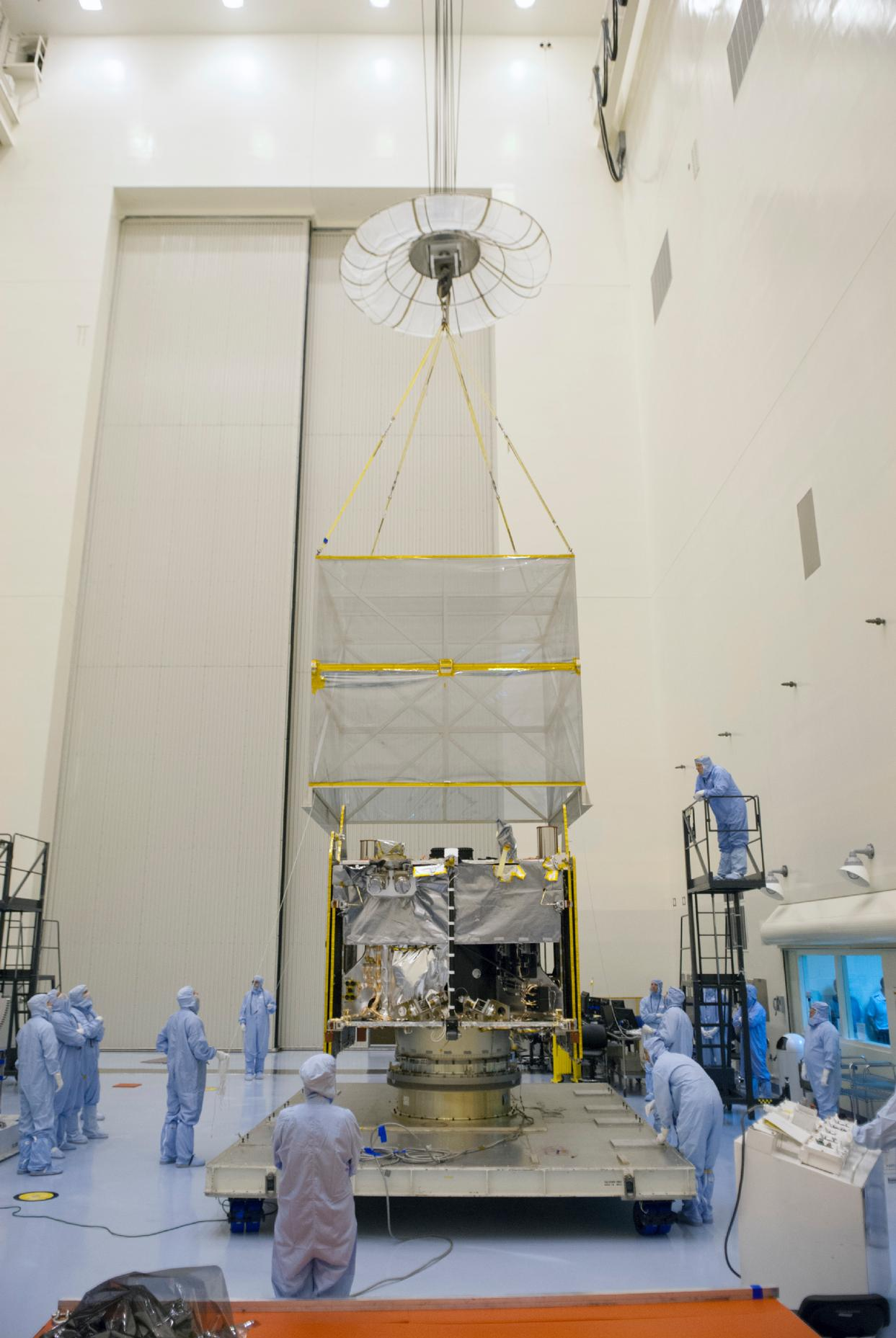 NASA's Mars Atmosphere and Volatiles Evolution (MAVEN) spacecraft is seen inside the Payload Hazardous Servicing Facility on Aug. 3. 2013 at the agency's Kennedy Space Center in Florida.