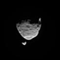 This view of the two moons of Mars comes from a set of images taken by NASA's Mars rover Curiosity as the larger moon, Phobos, passed in front of the smaller one, Deimos, from Curiosity's perspective, on Aug. 1, 2013.