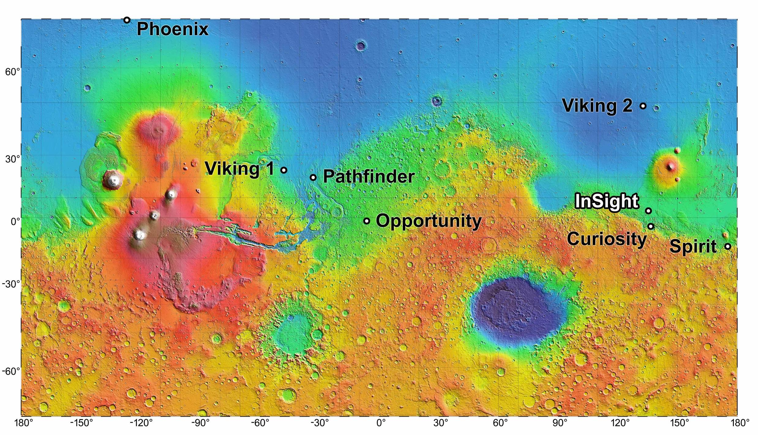 InSight and Other NASA Landing Sites