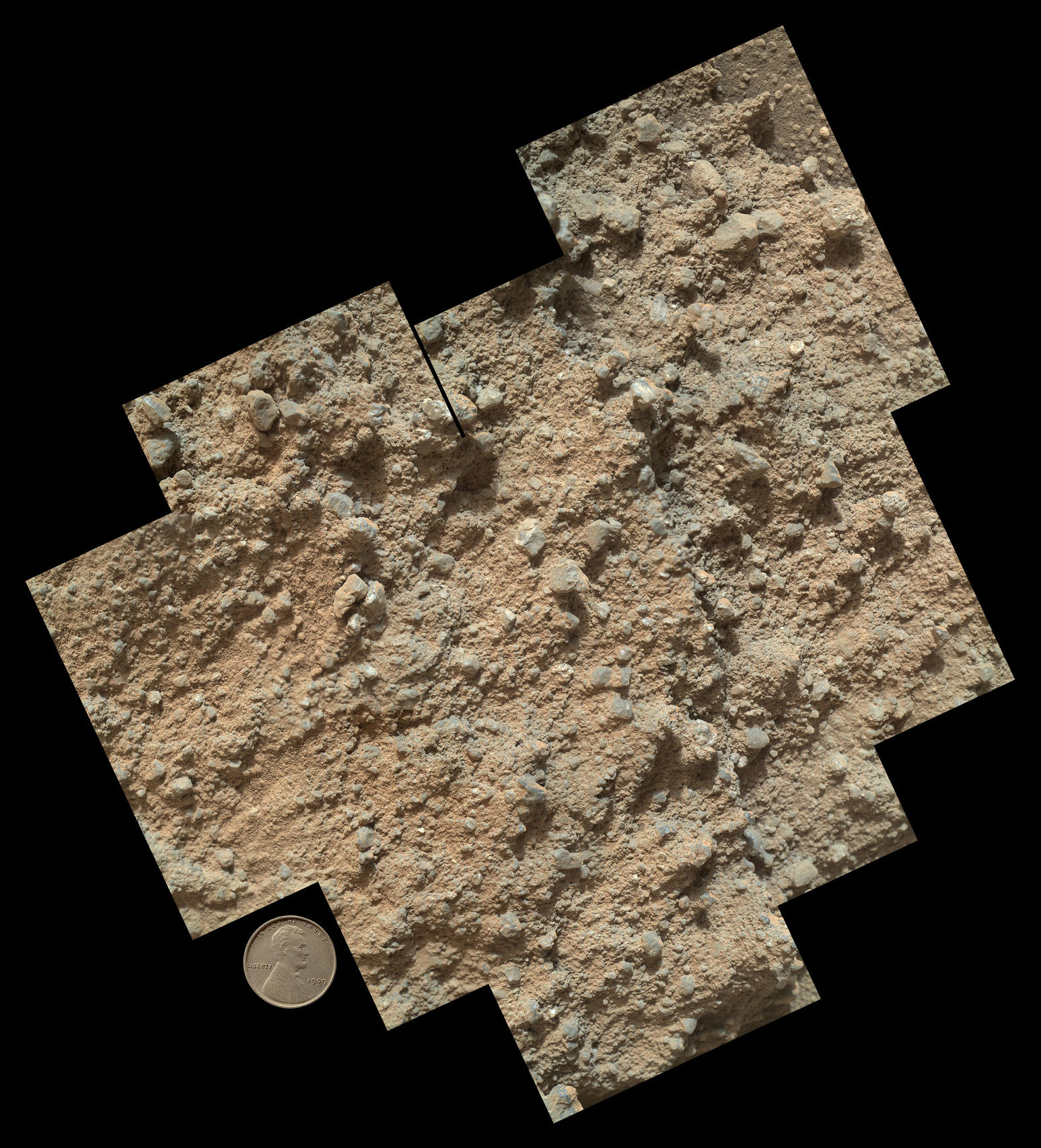This mosaic of nine images, taken by the Mars Hand Lens Imager (MAHLI) camera on NASA's Mars rover Curiosity, shows detailed texture in a conglomerate rock bearing small pebbles and sand-size particles.