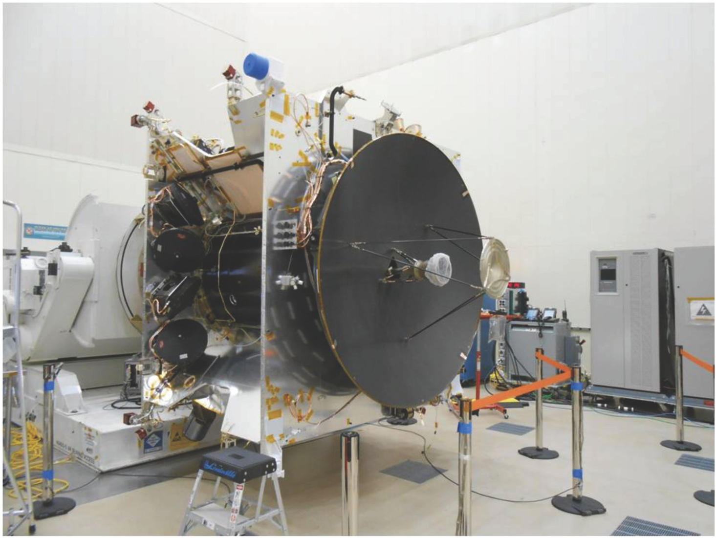 The MAVEN spacecraft in Assembly, Test, and Launch Operations phase at Lockheed Martin.