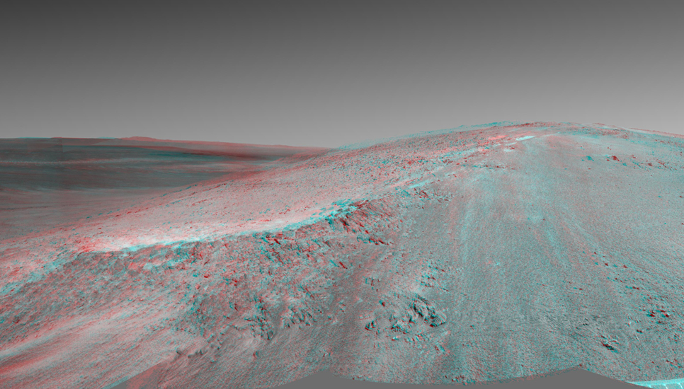 "This stereo view shows the ""Murray Ridge"" portion of the western rim of Endeavour Crater on Mars. It appears three-dimensional when seen through blue-red glasses with the red lens on the left."