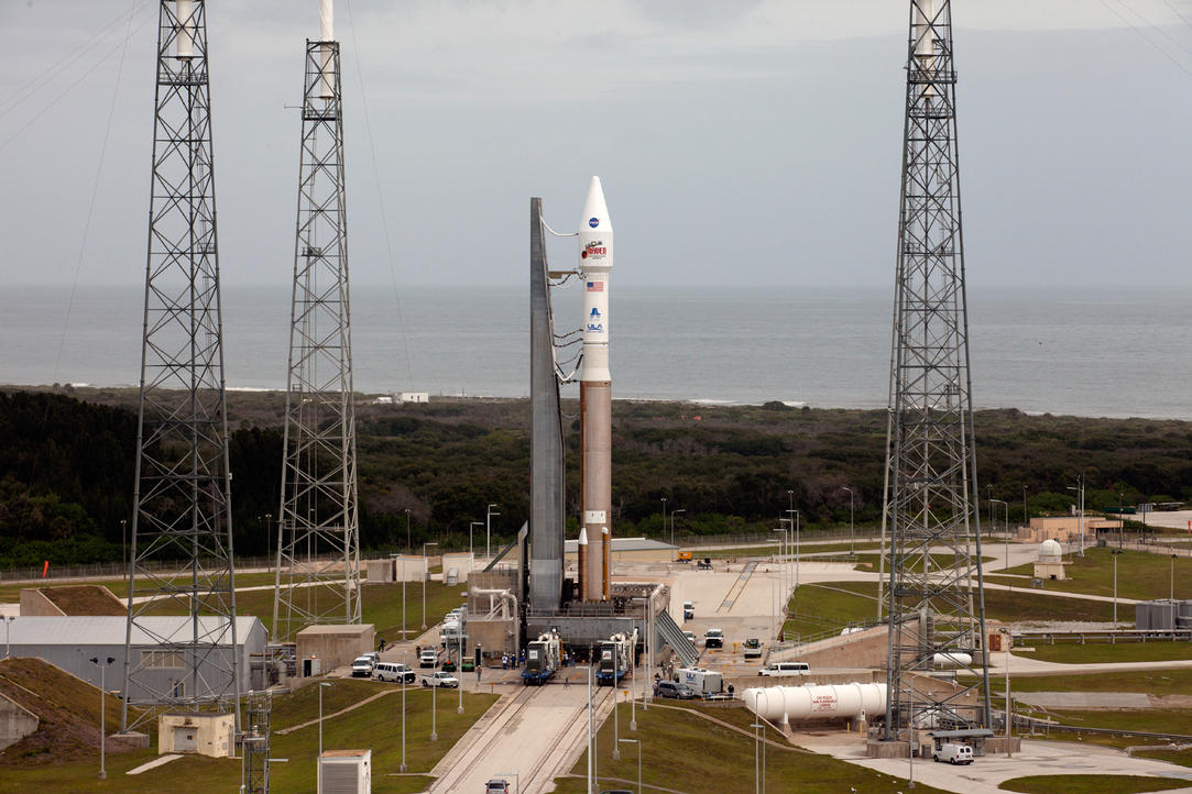 The Atlas V rocket carrying the Mars Atmosphere and Volatile Evolution (MAVEN) spacecraft sits at the launch pad at Florida's Cape Canaveral Air Force Station after rolling out from Space Launch Complex 41 on Saturday, Nov. 16. MAVEN is set to launch at 1:28 p.m. EST on Monday on a 10-month journey to the Red Planet.