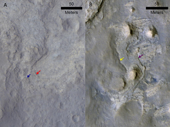 Images of locations in Gale Crater taken from orbit around Mars reveal evidence of erosion in recent geological times and development of small scarps, or vertical surfaces.