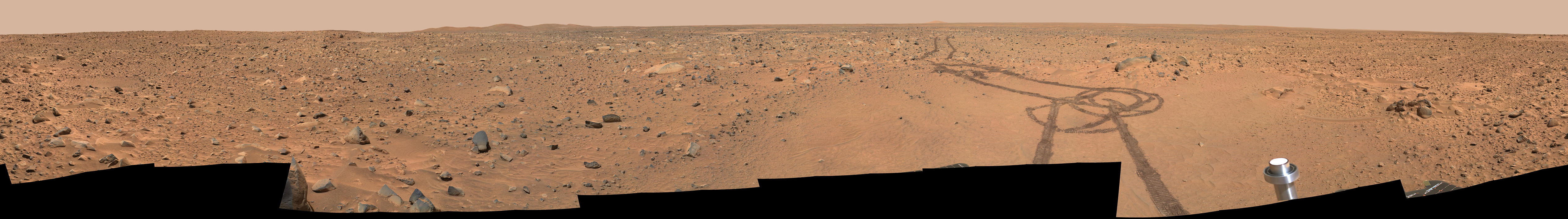 "This view captured by Spirit called ""Legacy"" panorama, combines images taken between the landing site and the rim of ""Bonnevile Crater."""
