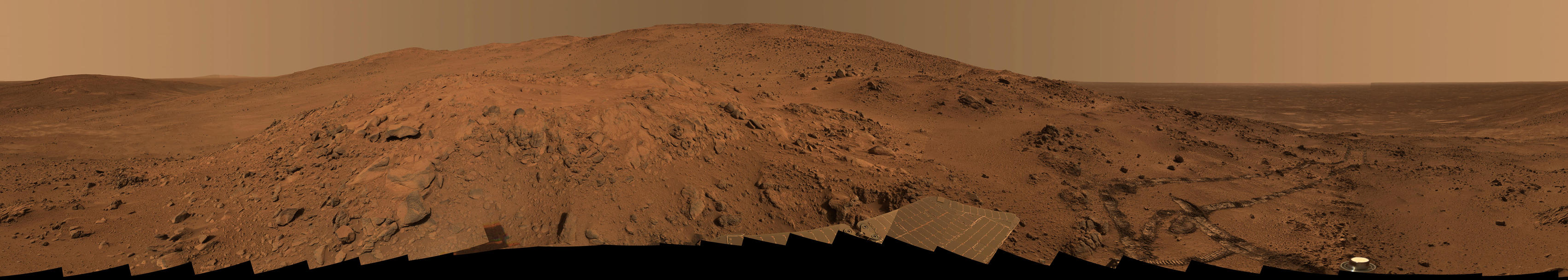 "This is the Spirit panoramic camera's ""Lookout"" panorama, acquired on the rover's 410th to 413th martian days, or sols (Feb. 27 to Mar. 2, 2005)."