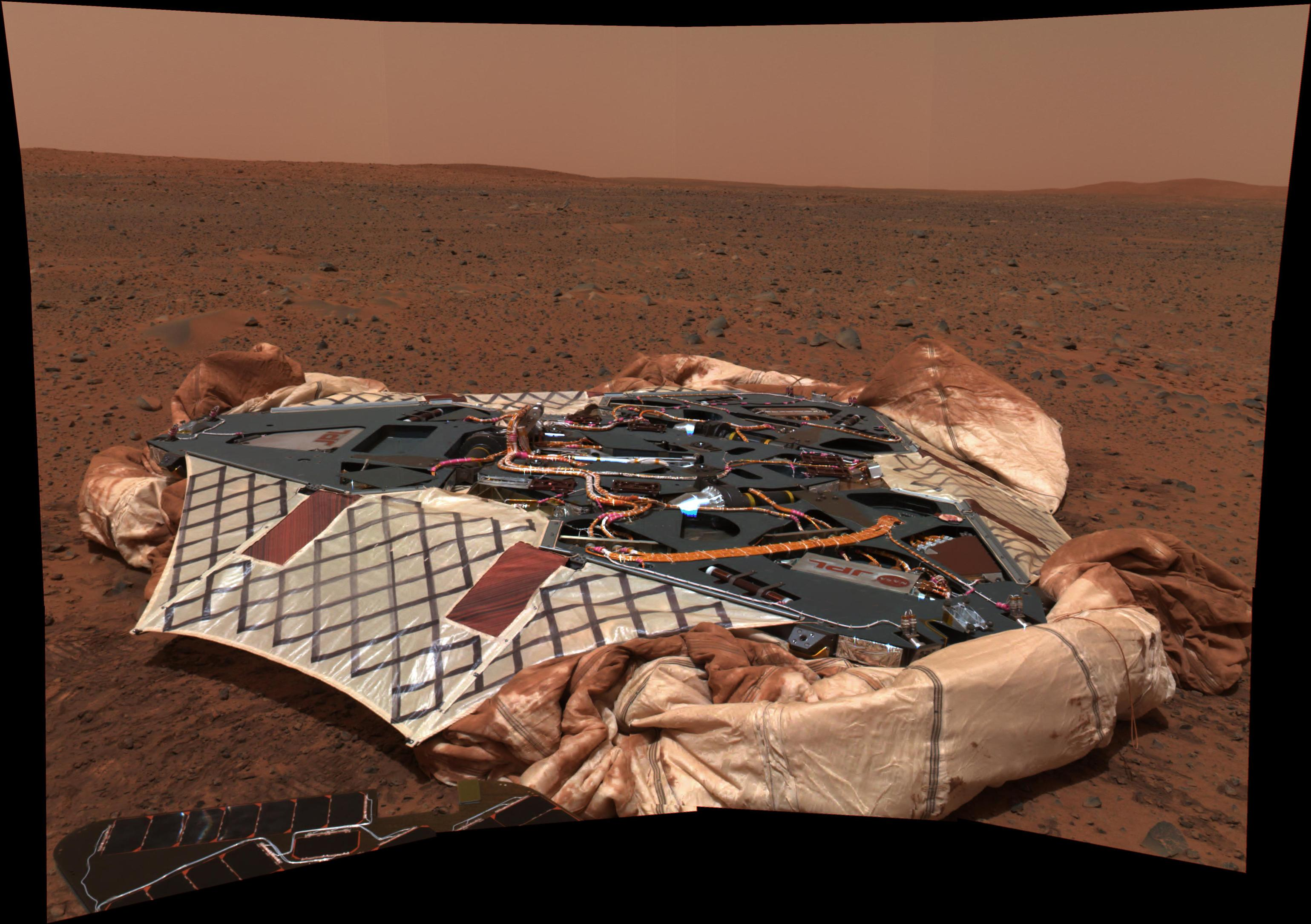 This image shows the Spirit rover's landing site, the Columbia Memorial Station, at Gusev Crater, Mars.