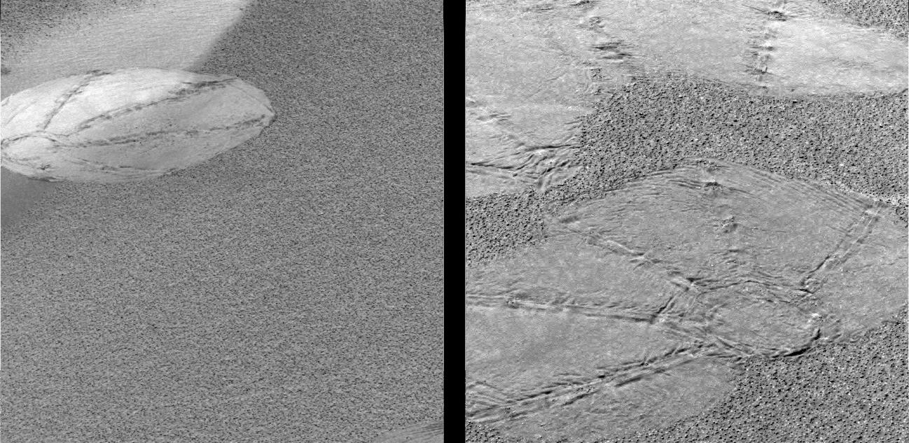 "The circular shapes seen on the martian surface in these images are ""footprints"" left by Opportunity's airbags during landing as the spacecraft gently rolled to a stop."