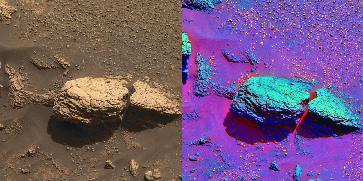 The color image on the left was taken by the panoramic camera onboard the Mars Exploration Rover Opportunity shows the part of the rock outcrop dubbed Stone Mountain at Meridiani Planum, Mars.