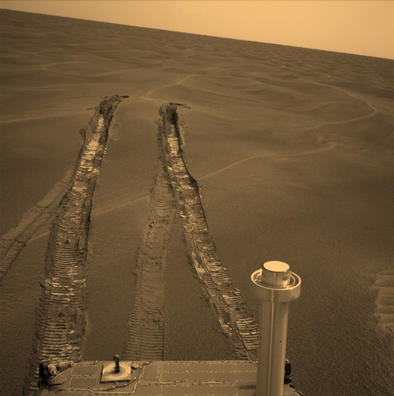 Opportunity's wheels dug more than 10 centimeters (4 inches) deep into the soft, sandy material of a wind-shaped ripple in Mars' Meridiani Planum region during the rover's 446th martian day, or sol (April 26, 2005).