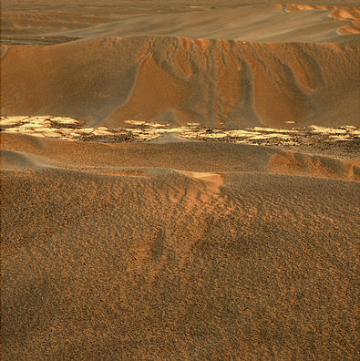 "These images of a sand ""ripple"" were acquired by Opportunity using its panoramic camera on sol 644 and its navigation camera on sol 645."