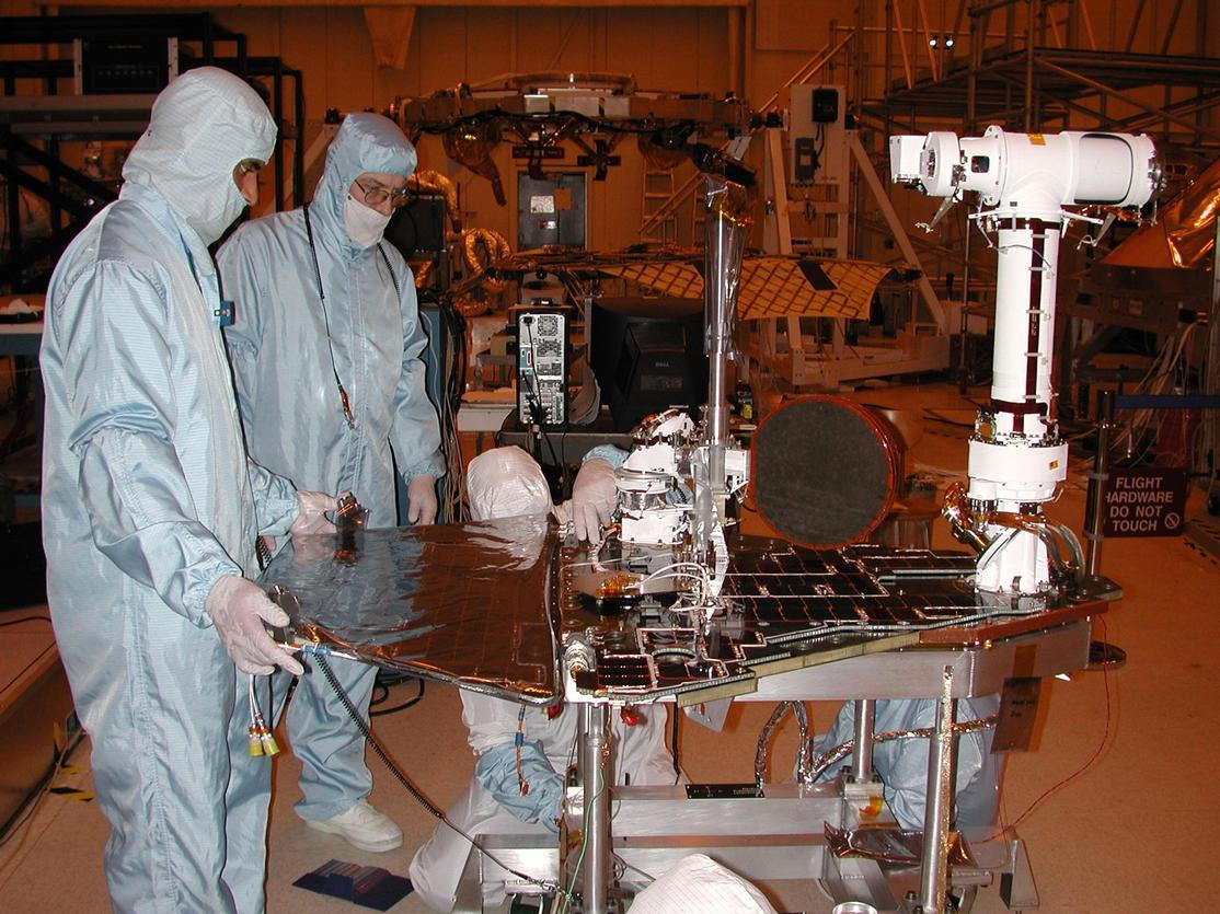 Engineers for NASA's Mars Exploration Rover Mission are completing assembly and testing for the twin robotic geologists at JPL. This