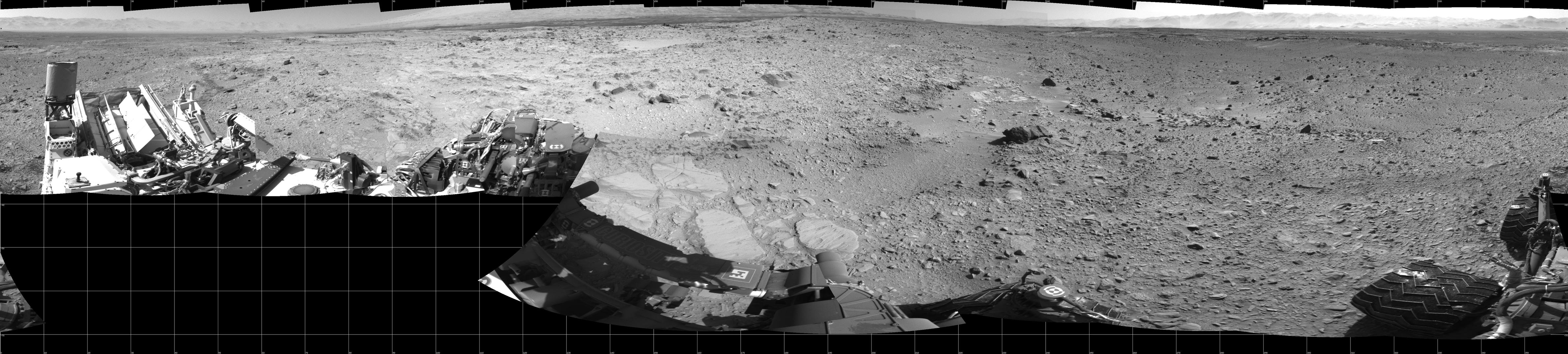 NASA's Mars rover Curiosity captured this 360-degree view using its Navigation Camera (Navcam) after a 17-foot (5.3 meter) drive on 477th Martian day, or sol, of the rover's work on Mars (Dec. 8, 2013).