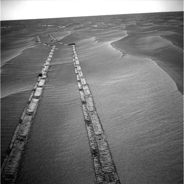 Opportunity used its navigation camera for this northward view of tracks the rover left on a drive from one energy-favorable position on a sand ripple to another.