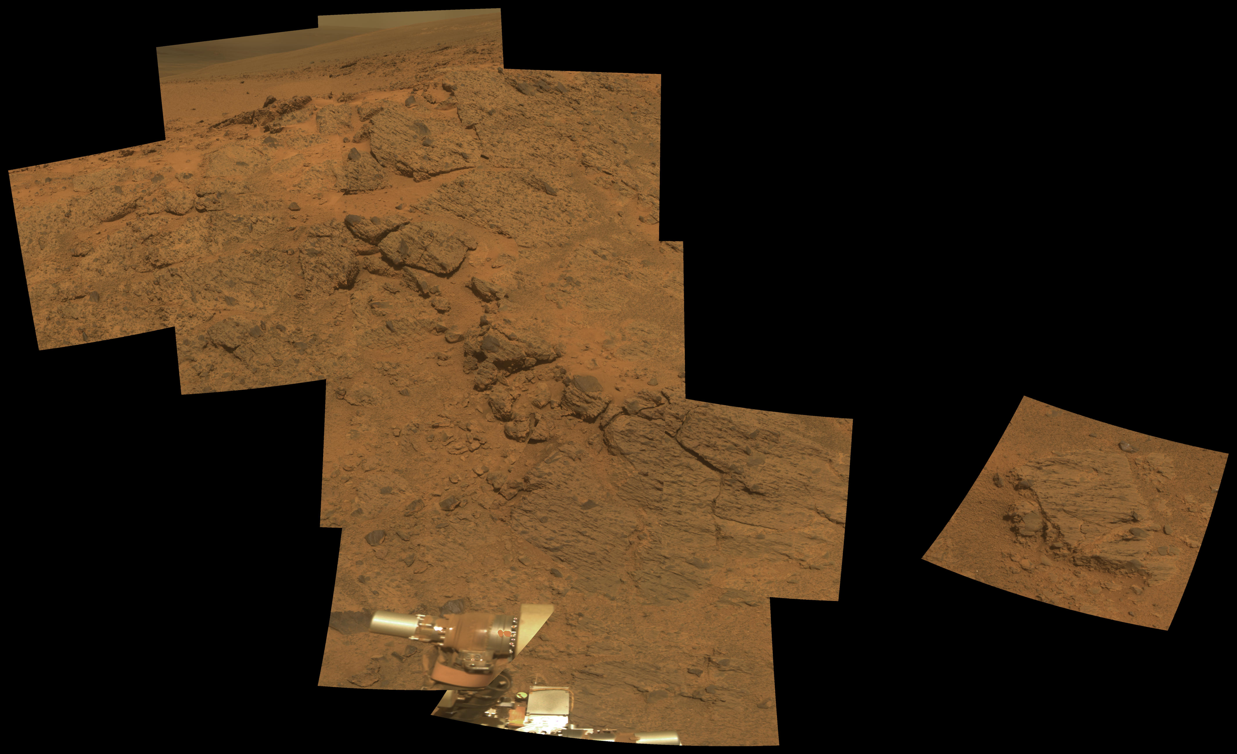"NASA's Mars Exploration Rover Opportunity observed this outcrop on the ""Murray Ridge"" portion of the rim of Endeavour Crater as the rover approached the 10th anniversary of its landing on Mars."