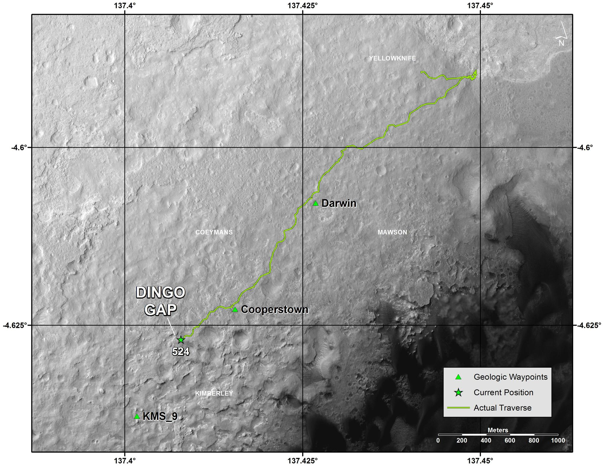 This map shows the route that NASA's Curiosity Mars rover drove inside Gale Crater from its landing in August 2013 through the 524th Martian day, or sol, of the mission (Jan. 26, 2004).