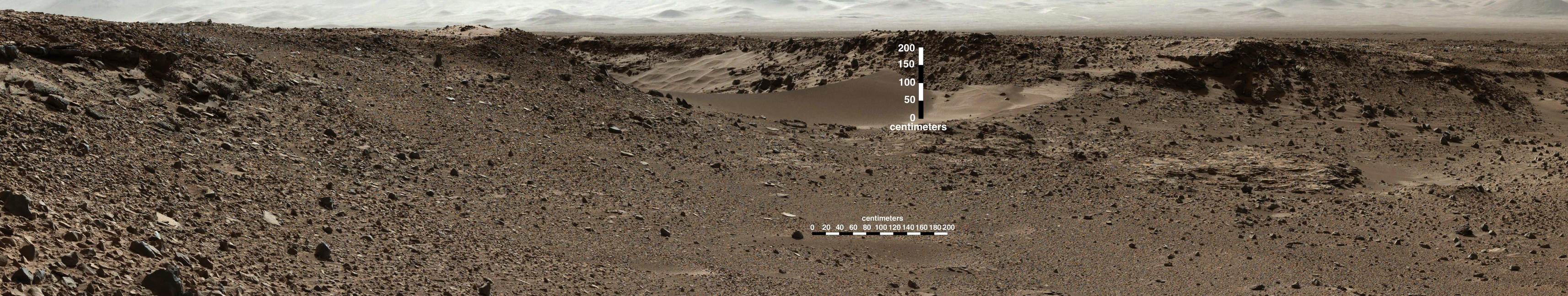 This scene combines images taken by the left-eye camera of the Mast Camera (Mastcam) instrument on NASA's Curiosity Mars rover during the midafternoon, local Mars solar time, of the mission's 526th Martian day, or sol (Jan. 28, 2014).