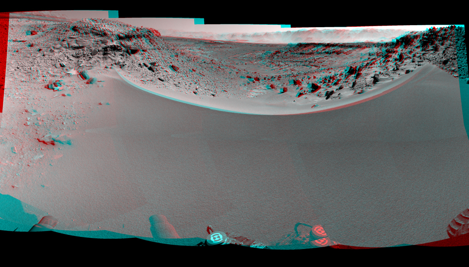 This stereo mosaic of images from the Navigation Camera (Navcam) on NASA's Mars rover Curiosity shows the terrain to the west from the rover's position on the 528th Martian day, or sol, of the mission (Jan. 30, 2014).