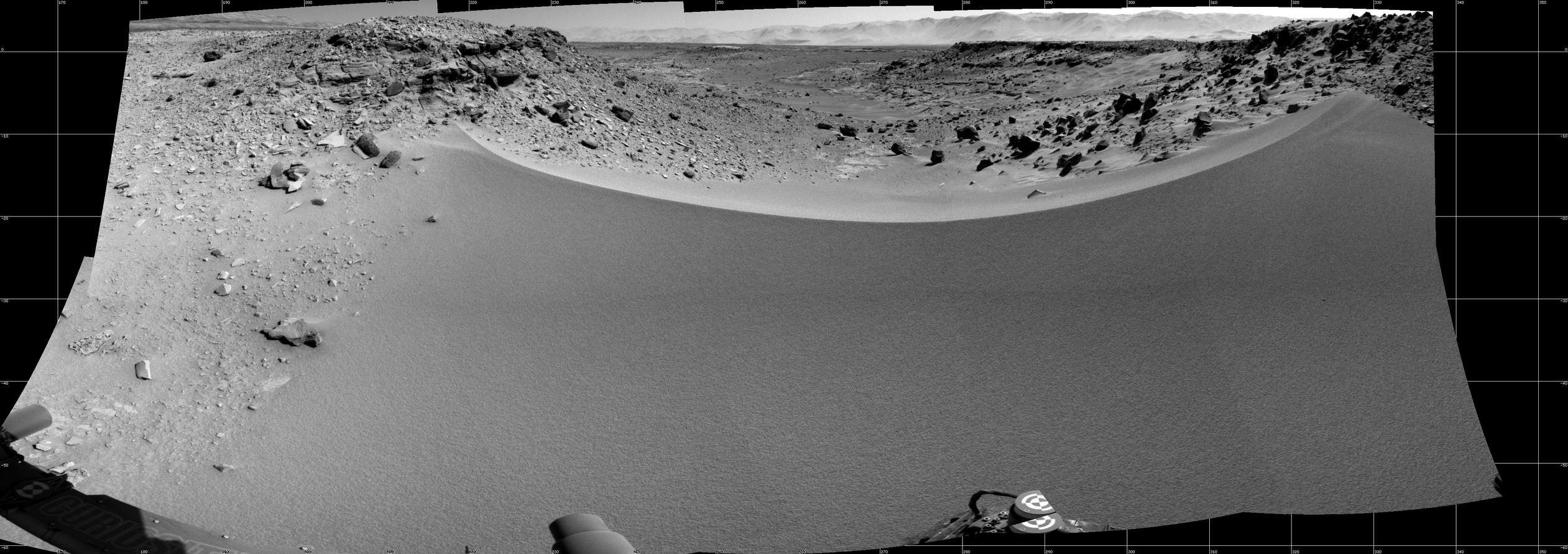 This mosaic of images from the Navigation Camera (Navcam) on NASA's Mars rover Curiosity shows the terrain to the west from the rover's position on the 528th Martian day, or sol, of the mission (Jan. 30, 2014).