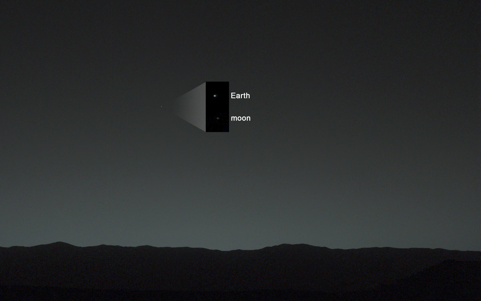 This view of the twilight sky and Martian horizon taken by NASA's Curiosity Mars rover includes Earth as the brightest point of light in the night sky