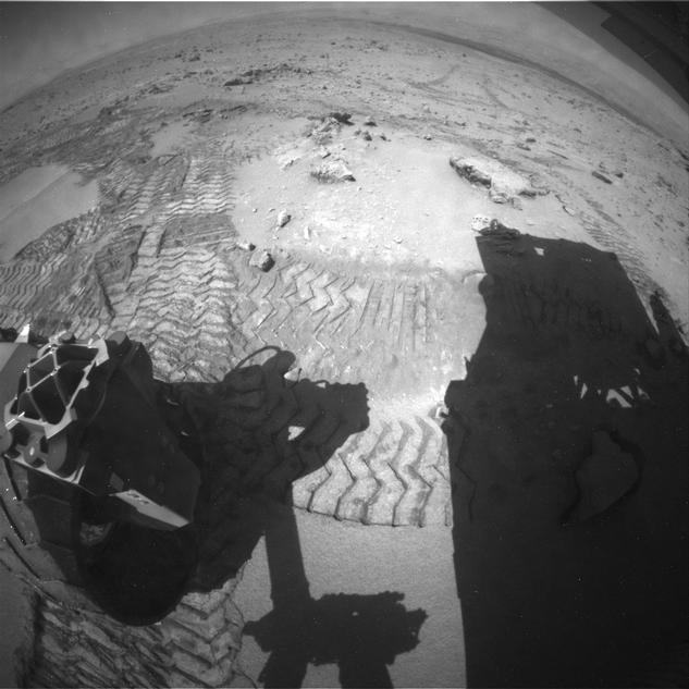 "The series of nine images making up this animation were taken by the rear Hazard-Avoidance Camera (rear Hazcam) on NASA's Curiosity Mars rover as the rover drove over a dune spanning ""Dingo Gap"" on Mars."